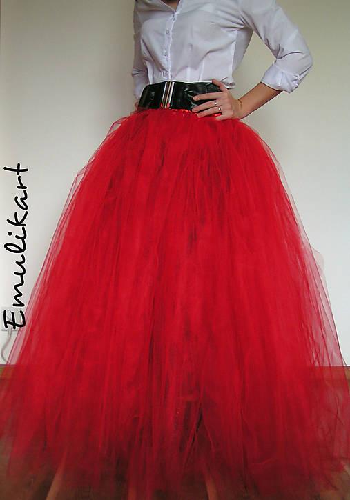 5ee5fa71cd1f Červená dlhá tylová tutu dámska sukňa na fotenie   emulikart - SAShE ...