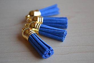 Polotovary - Kožený strapec parížska modrá (zlato), 35mm, 0.28€/ks - 6415124_