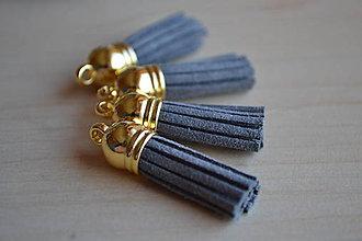 Polotovary - Kožený strapec sivý (zlato), 35mm, 0.28€/ks - 6415145_