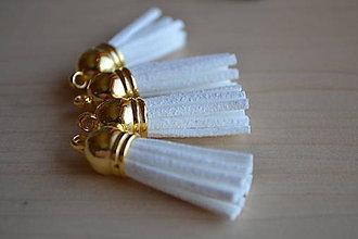 Polotovary - Kožený strapec biely (zlato), 35mm, 0.28€/ks - 6415181_