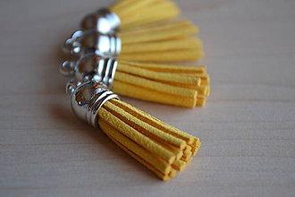 Polotovary - Kožený strapec žltozlatý (striebro), 35mm, 0.28€/ks - 6417202_