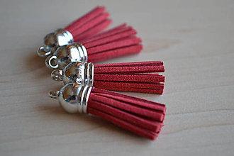 Polotovary - Kožený strapec červený (striebro), 35mm, 0.28€/ks - 6417404_