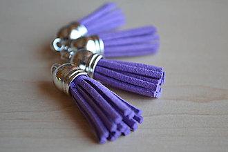 Polotovary - Kožený strapec fialový (striebro), 35mm, 0.28€/ks - 6417437_