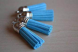 Polotovary - Kožený strapec modrý (striebro), 35mm, 0.28€/ks - 6417526_