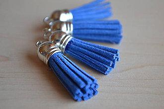 Polotovary - Kožený strapec kráľovská modrá (striebro), 35mm, 0.28€/ks - 6417536_