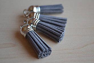 Polotovary - Kožený strapec sivý (striebro), 35mm, 0.28€/ks - 6417582_