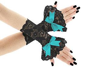 Rukavice - Spoločenské dámské čierné čipkové rukavice  0185A14 - 6423345_