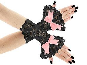 Rukavice - Spoločenské dámské čierné čipkové rukavice  0185A13 - 6423351_