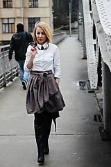 Sukne - Zavinovací sukně ANJA, hnědý tvíd, pas 66-74 cm - 6423174_
