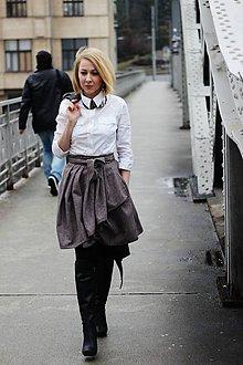 Sukne - Zavinovací sukně ANJA, hnědý tvíd, pas 68-74 cm - 6423174_