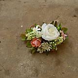 Náramky - Náramok ...biela ruža a marhuľový kvet... - 6419756_