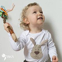 Detské oblečenie - body ZAJKO UŠKO (dlhý/krátky rukáv) - 6423639_