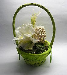 Dekorácie - Zelený košík - 6423733_
