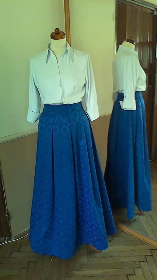 e5f857cb4e70 Modrá spoločenská sukňa dlhá   ACfashion - SAShE.sk - Handmade Sukne