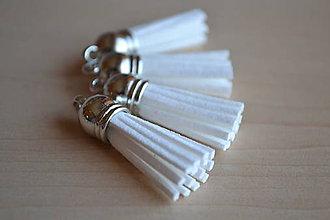 Polotovary - Kožený strapec biely (striebro), 35mm, 0.35€/ks - 6419140_