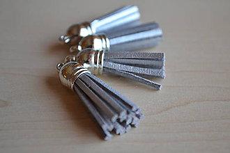 Polotovary - Kožený strapec strieborný (striebro), 35mm, 0.35€/ks - 6419145_