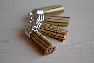 Polotovary - Kožený strapec zlatý (striebro), 35mm, 0.35€/ks - 6419147_