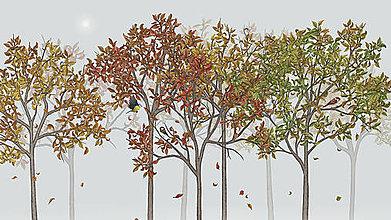 Grafika - Vtáčí les - jeseň - 6421844_