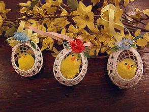 Dekorácie - Háčkovaná kraslica s kuriatkom - 6425811_