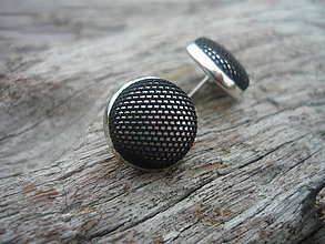 Náušnice - Náušnice Buttonky Černé síťkované - 6426002_