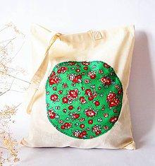 Nákupné tašky - Režná nákupka so zelenou aplikáciou - 6425372_
