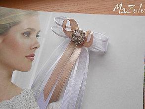 Pierka - svadobné pierko latté so štrasom - 6424281_