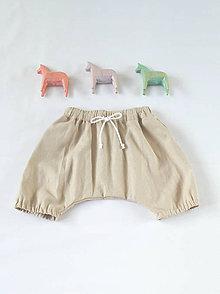 Detské oblečenie - Ľanové háremky prírodné - 6425928_