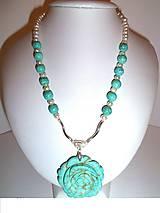 tyrkysová ruža náhrdelník