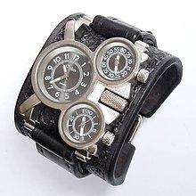 Šperky - Pánske hodinky s koženým náramkom čierne III - 6425015_