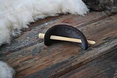 Ozdoby do vlasov - Čierna kožená spona do vlasov - 6424353_