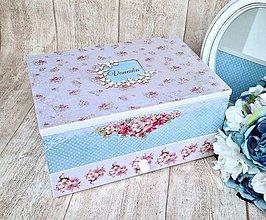 Krabičky - Šperkovnica ružovo modrá - 6426958_
