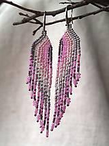 Náušnice - strapatice ružové - 6425660_