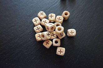 Korálky - Drevený krížik kocka - 6427968_