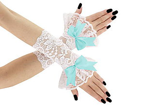 Rukavice - Svadobné bielé čipkové rukavice pre nevestu 5 - 6428451_