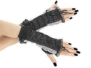 Rukavice - Čierne dámské rukavičky s čipkou 0510 - 6429637_
