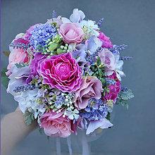Kytice pre nevestu - Svadobná kytica vo fialových odtieňoch s levanduľou - 6431809_