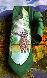 Hodvábna kravata - Pre poľovníka s motívom jeleňa