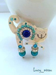 Odznaky/Brošne - Brošnička mačička bielo-modrá :) - 6431368_