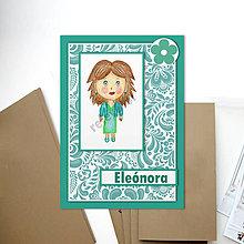 Papiernictvo - Pohľadnica Dievča v šatách - 6428509_