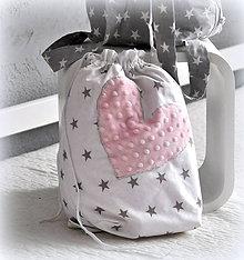 Textil - Ruksak, batôžtek baby ružové srdiečko - 6436044_
