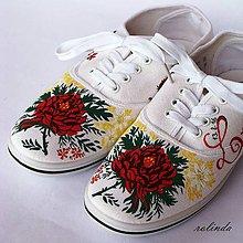 Obuv - Folklórní svatební tenisky - růže I. - 6432928_
