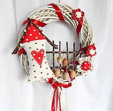 Dekorácie - na dvere veniec - Utkaný z jahodovej peny (Veľkonočný venček) - 6433170_