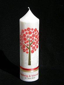 Svietidlá a sviečky - Svatební svíčka s logem - strom - 6432269_