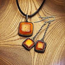 Sady šperkov - Sada náušnice a prívesok Ohnivé štvorce - 6432950_