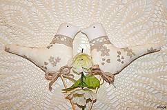 Dekorácie - Zapichovací vtáčik béžovo - biely - 6435567_