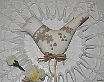Dekorácie - Zapichovací vtáčik béžovo - biely - 6435568_