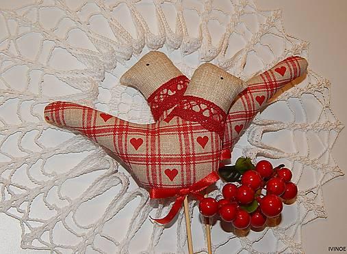 Zapichovací vtáčik károvaný béžovo - červený