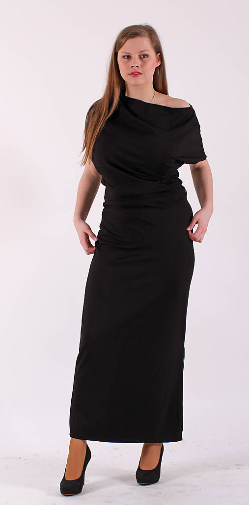 Šaty - Černé asymetrické šaty - 6437543_