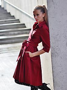Šaty - Zavinovací šaty MONA, tmavší červená - 6436480_