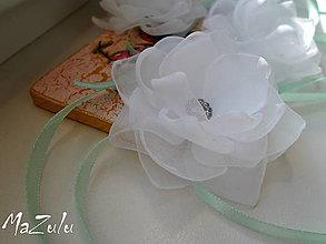 Náramky - svadobný náramok v mentolovom - 6437451_